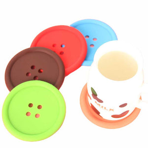 Button Cup Mat Gift Toys for Home Decor Tableware Cup Bowl Accessories Coffee Cup Mat Retro
