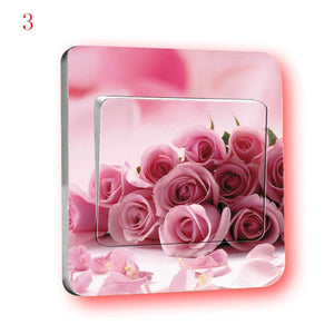 5Pcs Translucent PVC Membrane Creative Switch Sticker Rural Style Flowers Sticker Bedroom Decor