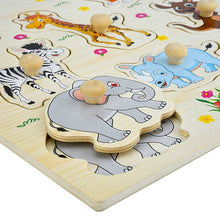 Hand Grasp Knob Pegged Puzzle Wooden Quality Numbers Animals  Cognitive Board Children Toys