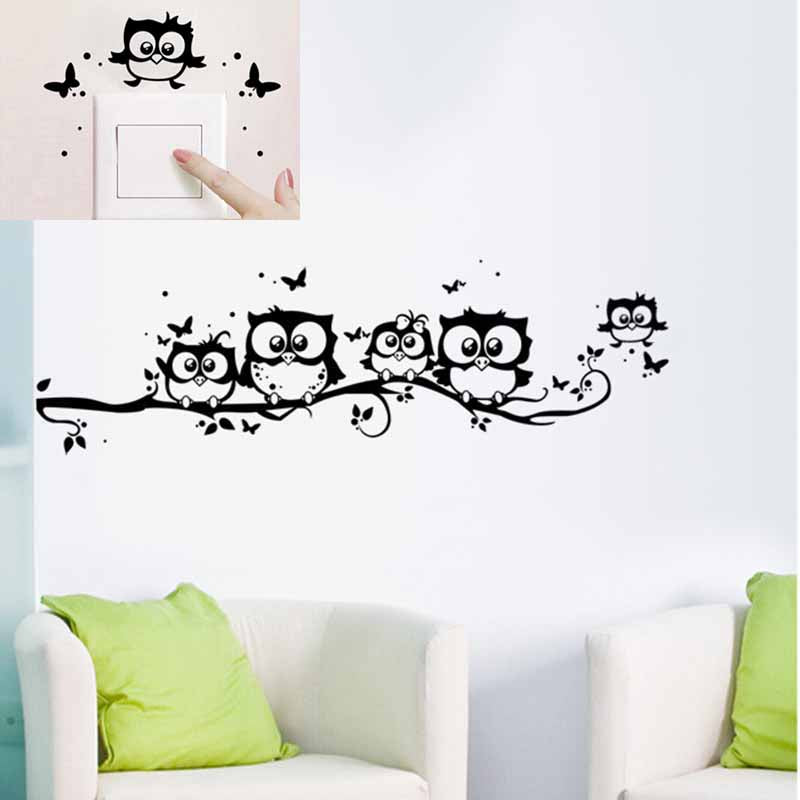 PVC Removable Owl Butterfly Wall Sticker Bedroom Livingroom Background Decorative Sticker Home Decor