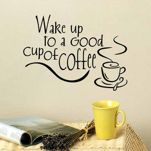 Wake up to a Good Cup of Coffee English Letters Wall Sticker Stickers Home Decal- Black and White