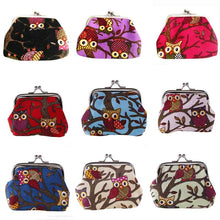 Multi-color Owl Pattern Canvas Handbag Coin Money Bag Purse Wallet Gift for Women Lady Girl