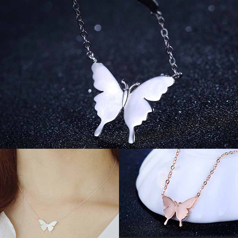 Refinement Alloy Butterfly Pendant Necklace Women Ladies Fashion Clavicle Short Chain Jewelry Accessories