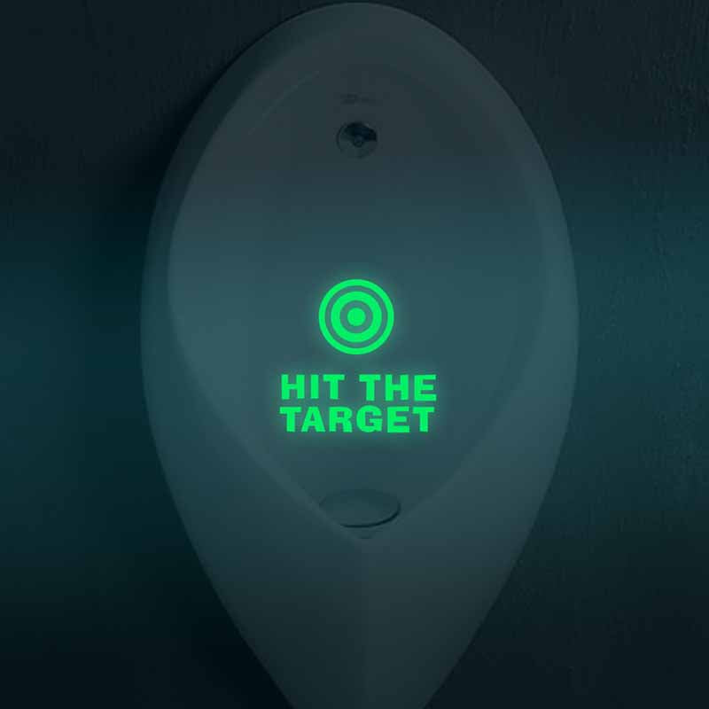 HIT THE TARGET Creative Waterproof Vinyl Luminous Toilet Bathroom Sticker Home Decor