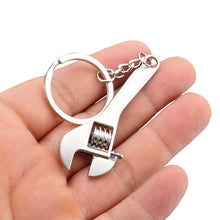 Zinc Alloy Silver Plated Adjustable Spanner Keychain Creative Wrench Keyring Tool