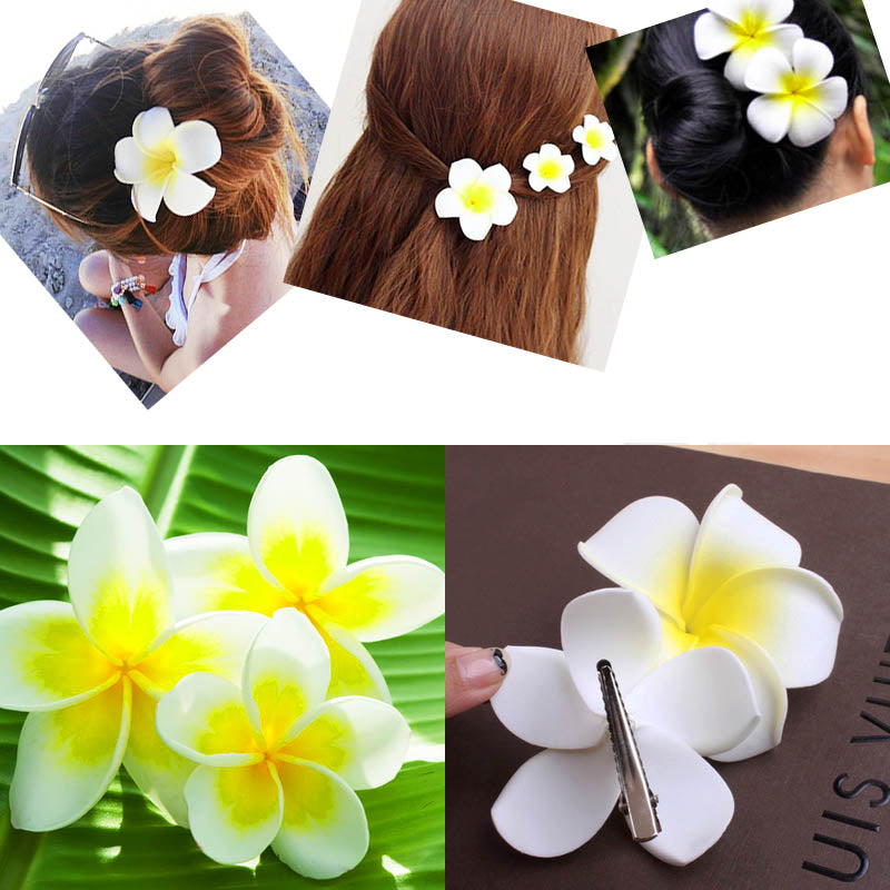 Women Ladies Girls Hair Plumeria Flower Clip Seaside Resort Wedding Bride Hair Accessories 3 Pcs
