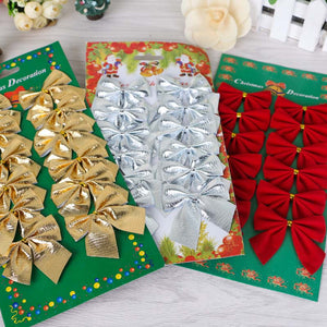 12 Pcs Decorative Bow Christmas Supplies Christmas Tree Decorations Suspended Accessories 3 Colors