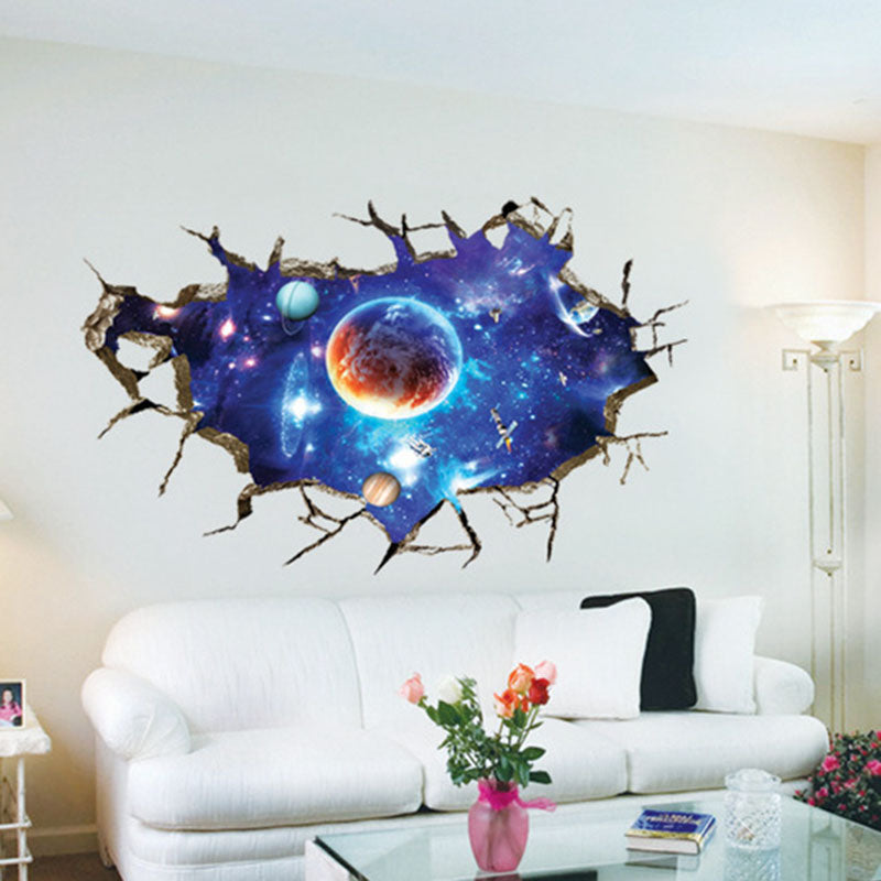 3D Breaking Wall Space Planet Sticker Living Room Wall Ceiling Decorative Sticker Removable Home Decor