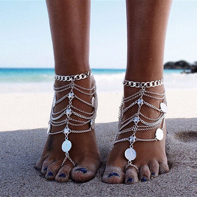 1 Pair Boho Vintage Anklet Gold Silver Coin Blessing Symbol Tassel Anklets Foot Jewelry