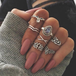 7 Pcs/set Bohemian Retro Hollow Carved Gem Women Rings Ring Set Women Accessories