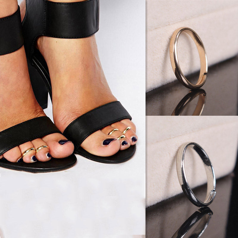 Women Fashion Body Jewelry Smooth Polishing Simple Opening Rings Toe Ring Toe Ring 2 Pcs