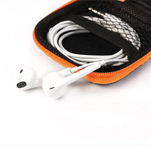 1Pc Portable Zipper Earphone Case Carrying Earbud Case for MP3 Earbud and USB Cable Black and Orange