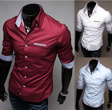 Fashion Quarter Middle Solid Color Sleeve Dress Shirt For Men