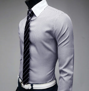 Stylish Smooth Glossy Strip Long Sleeve Sleeved Dress Shirt For Men