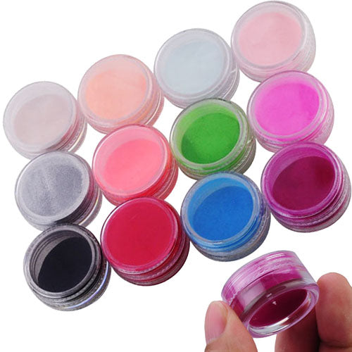 12-Color Pretty 3D Nail Art Acrylic Powder Manicure Tips