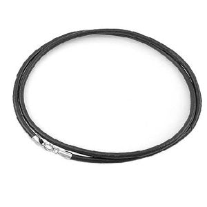 "16"" 18"" Unisex Black Leather Strap Single Chain Necklace with Plating Platinum Clasp"