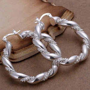 1 Pair 925 Sterling Silver Plated Circle Earring Originality Twisted Ear Ring Hoop Silver Earrings