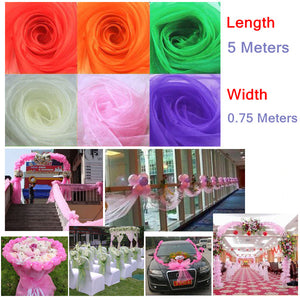 0.75*5m Unit Sheer Mirror Organza Stiff Fabric for Wedding Room / Path Guide / Arch / Flower Ball Decoration - 6 Colors