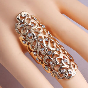 1x Euro Pop Trend Exaggerated Hollow Carved Patterns Thin Diamond Golden Alloy Women's Ring - Random Color