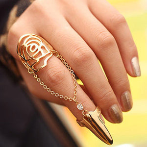 European Style Exquisite Hollow Rose Pattern Conjoined Women's Nail Ring - Gold / Silvery