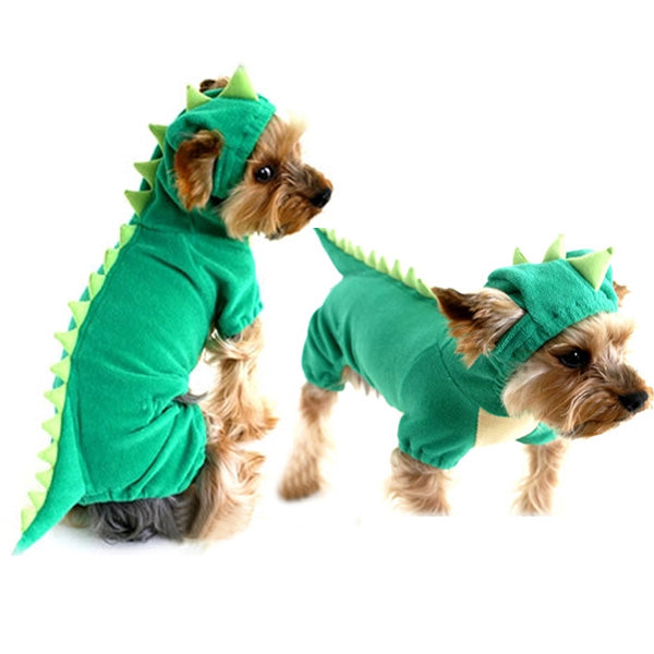 Fashion Pet Dog Dinosaur Hoodie Costume Clothes Soft Velure Material Pet Coat Sweater