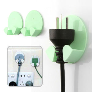 Compact And Practical Paste Stick-on Hook Two Electric Plug Socket Mounted Storage Rack-Color Random
