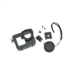 Multi-purpose Aluminum Alloy Protective Shell Dog Cage Camera Case + Lens Cap Set for Gopro Hero 3 3+ -Black