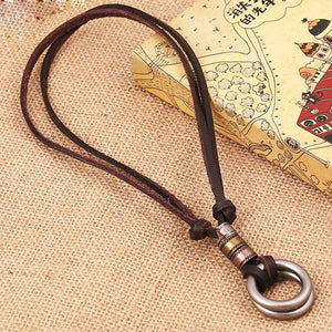 Retro Hot Sale Circle Charm Pendant Leather Rope Necklace for Men