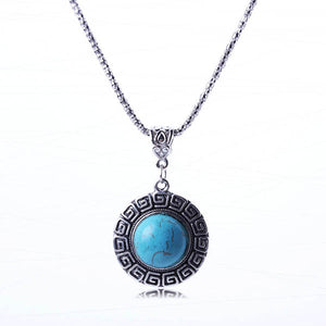 Bohemian Vintage Jewelry Round Turquoise Pendant Sweater Chain Necklace for Women