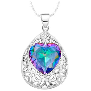 925 Sterling Silver Oval 15*15mm Genuine Mystic Rainbow Topaz Pendant Necklace with Chain