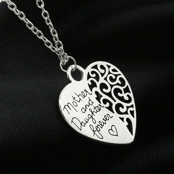 Love Peach Heart Mother and Daughter Forever Love Pendant Necklace