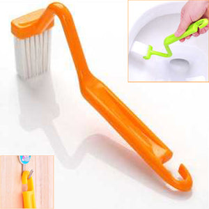 V Shaped Toilet Brush Curved Handle Cleaning Brush - Random Color