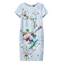 Fashion Traditional Chinese Style Flowers and Birds Print O-Neck Short Sleeves Women Summer Dress