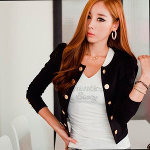 Women's Fashion Slim Solid Color Long Sleeve Double-breasted Buttons Cardigan Outwear Coat Short Suit Jacket