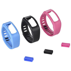 3Pcs/Lot Replacement Bands with Plastic Clasps and 3 PCS Silicone Fastener Ring for Garmin Vivofit Fitness - Large