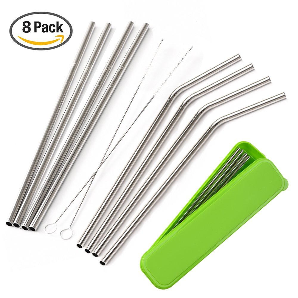 8 Pack Stainless Steel Drinking Straws with Cleaning Brushes and Portable Storage Box