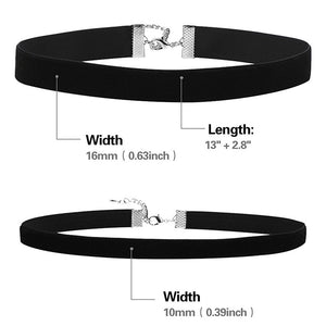 2 Pieces Black Velvet Ribbon Choker Gothic Necklace for Women Girls