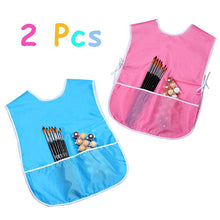 2 Pieces Children's Art Smock Artist Smock Waterproof Painting Apron - Blue and Pink