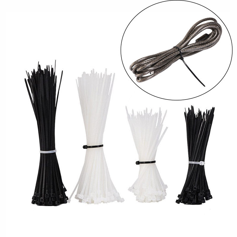 400 Pieces Self-Locking Nylon Cable Zip Ties 4 Inches and 6 Inches Zip Wrap Black and White