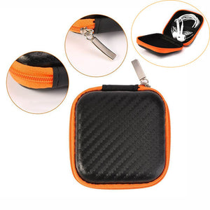 Portable Zipper Earphone Case Carrying Earbud Case for MP3 Earbud and USB Cable Black and Orange