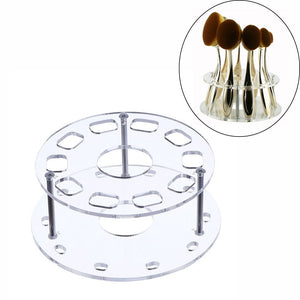Oval Makeup Brush Holder 10 Holes Drying Rack Organizer Cosmetic Shelf Tool