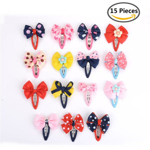 15 Pieces Bow Barrettes Hair Snaps Bowknot Hair Clips for Baby Kids Children Girls 15 Styles