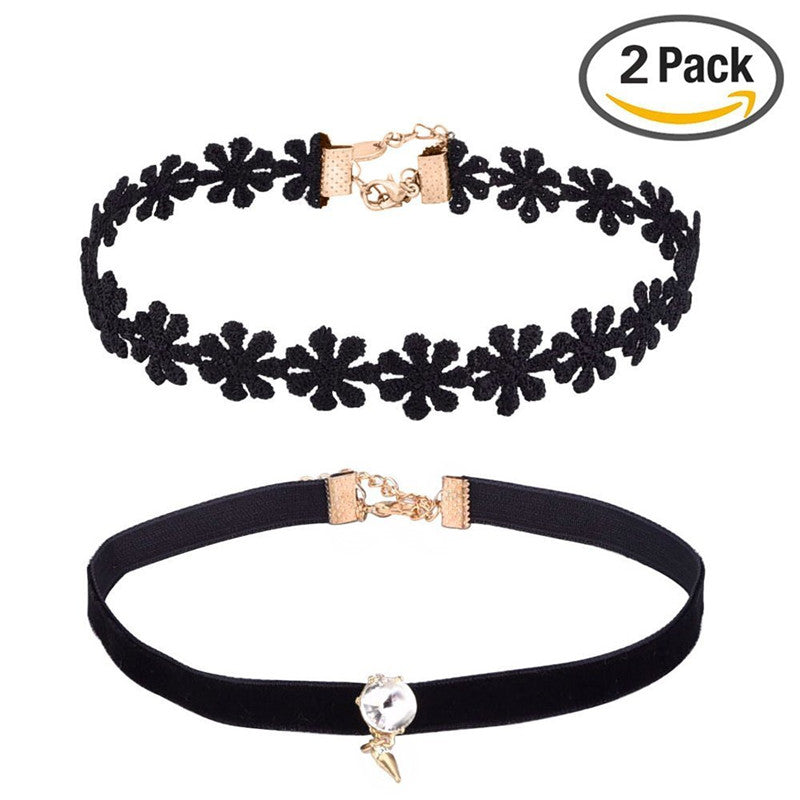 Flower Lace Choker Necklace and Black Velvet Necklace Choker with Pendant Set of 2