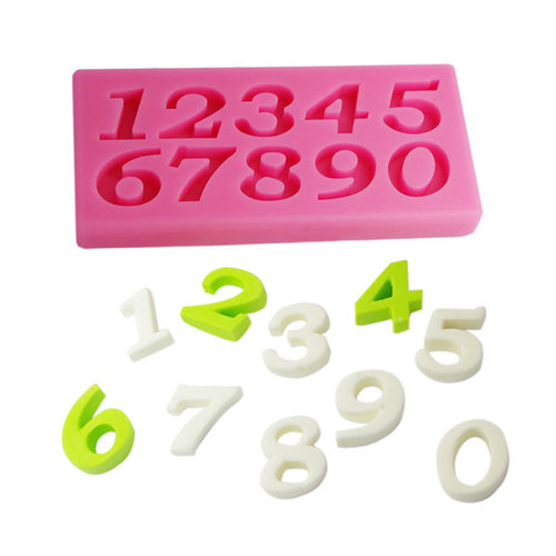 0-9 10 Number Shape Silicone DIY Cake Chocolate Mold Cookware Dining Bar Non-Stick Cake Decorating Fondant Soap Mold