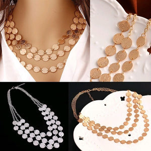 New Women's Fashion Multi-Layer Small Wafer Chain Choker Statement Bib Necklace Jewelry