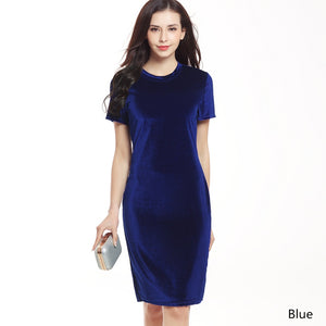 New Summer Sexy Women's Fashion Velvet Sheath Dress Office Ladies Round Neck Slim Pencil Dress Work Wear Knee Length Dress