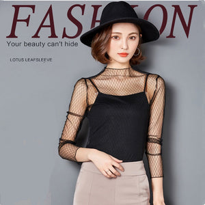 2017 Fashion Sexy Hollow Mesh Black Lace Shirt Transparent Women Nets T Shirt Cover Long-Sleeved Can Wear Outside Or Lnside
