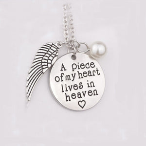 New Arrival 'A piece of my heart lives in heaven' Charm Hand Stamped Remembrance Loved Necklace Pearl Pendant Necklace Jewelry
