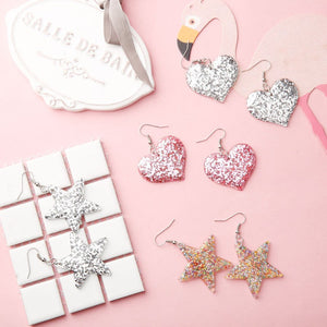 New Arrival Women's Fashion Cute Sparkling Heart Shaped Star Drop Earrings Jewelry Best Gift For Girls