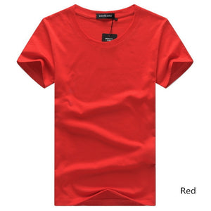 Fashion Solid color Cotton t shirt men brand clothing summer solid t-shirt male casual T shirt fashion mens short sleeve plus size